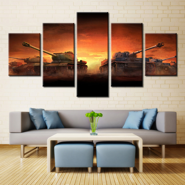 Forbeauty 5 Piece Canvas Painting For Livingroom World Of Tanks Computer  Games Xbox One Golden Joystick