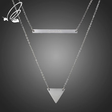 SSteel Fashion Stainless Steel Multiple Layers Cross Necklaces For Women Charm Silver Rose Gold Color Chokers Necklace Jewelry