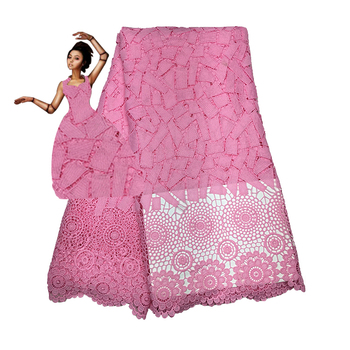 Latest Laser Cutting Nigerian Lace Embroidered Fabric Jacquard Lace Fabric For wedding Dress.African lace fabric FC16-CY03