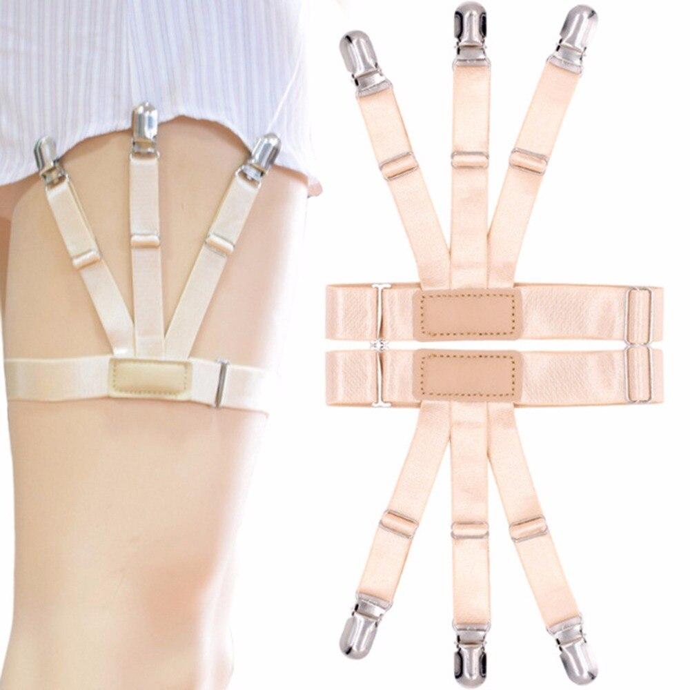 Men Shirt Stays Garters Elastic Tirantes Adjustable Slip Brace Sexy Shirt Holder Crease Resistance Belt Stirrup Suspenders