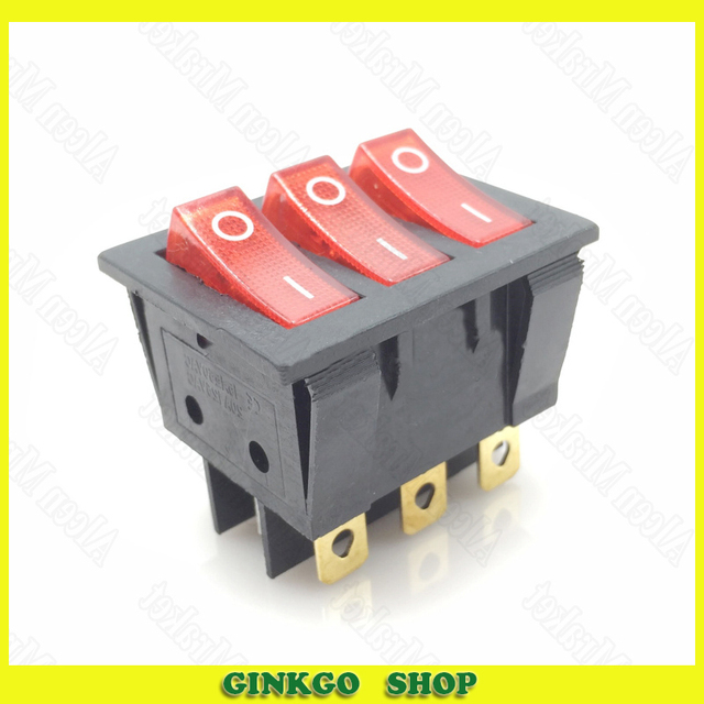 30pcs/lot 220V 15A Rocker Switch With Light KCD3 9Foot 2File Three ...