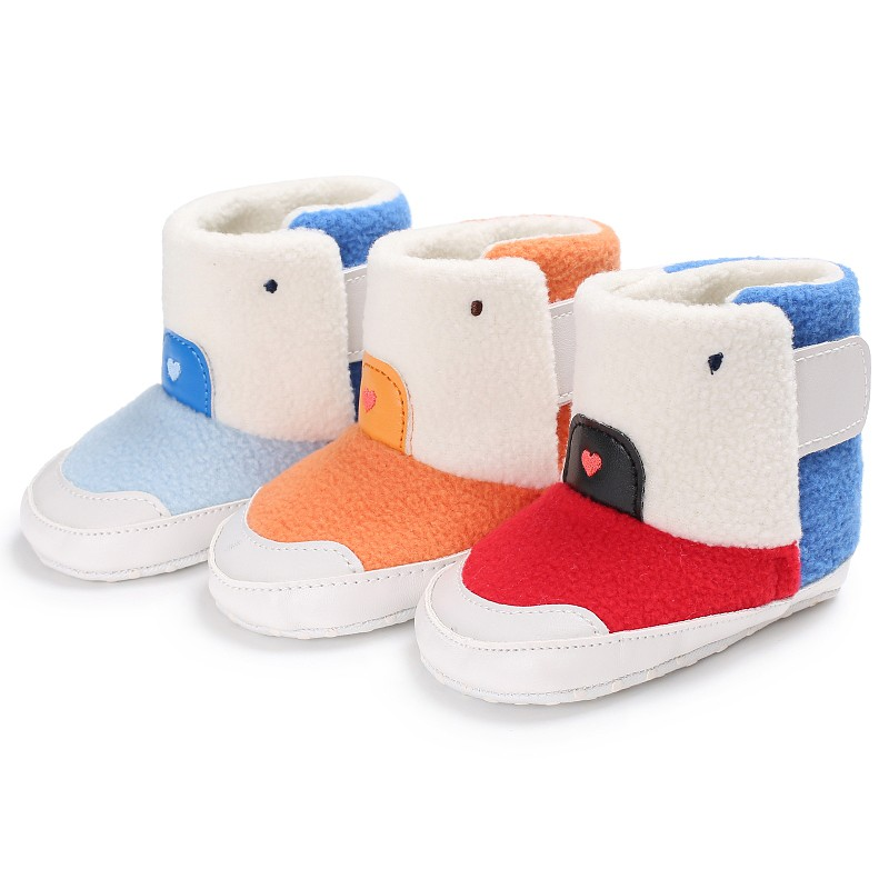 Kid Boys Soft Casual Patchwork First Walker Winter Warm Fashion Splice Color Boys Girls Toddler prewalkers Cack Baby Shoes