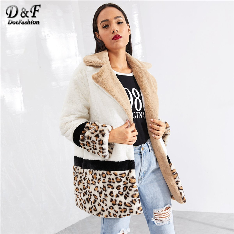 Dotfashion Colorblock Pocket Leopard Panel Faux Fur Teddy Coat Women Casual Winter Notched Clothing Female Long Sleeve Outerwear