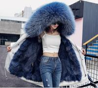 Winter new fashion Faux fox fur Liner Parka overcoat Hooded Big fur collar long Faux Fur parkas coat Keep warm long Faux Fur