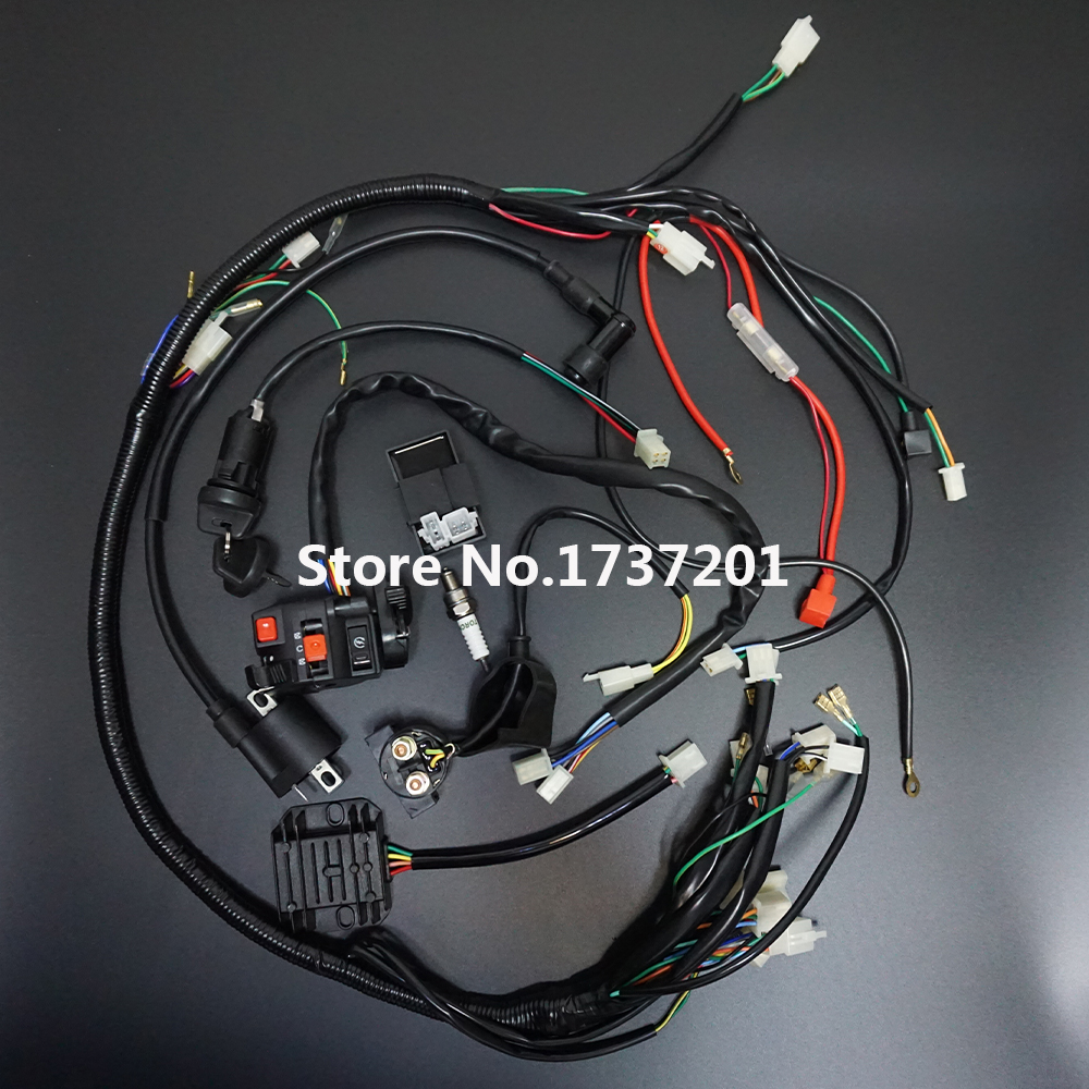 full wiring harness loom ignition coil ac cdi box for 150cc 200cc 250cc 300  atv quad