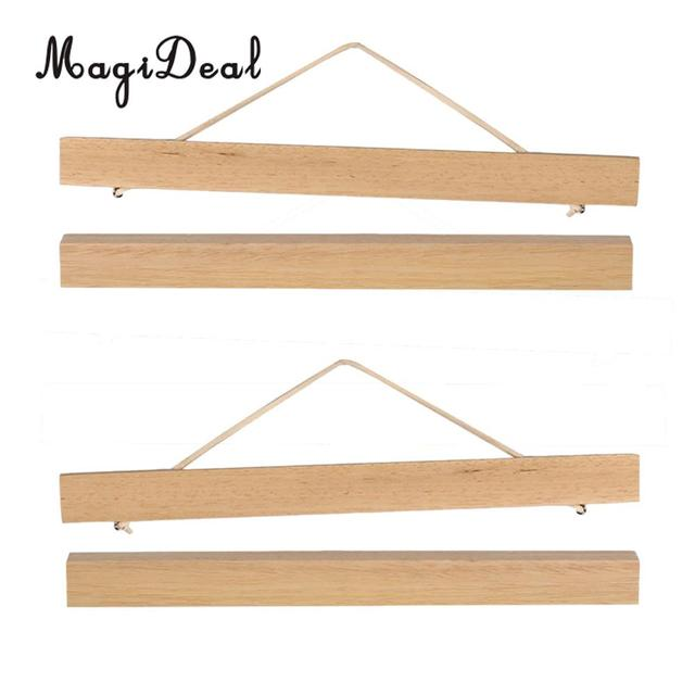 2 Pairs Magnetic Wooden Picture Photo Hanging Frame Poster Scroll Painting Hanger Framework 21cm