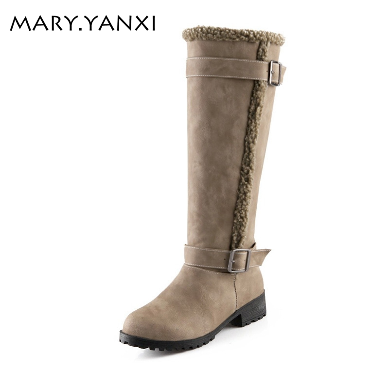 Soft Leather Fashion Buckle Women Boots Quare Heel Knee High Winter Snow Boots Casual Knight Boots