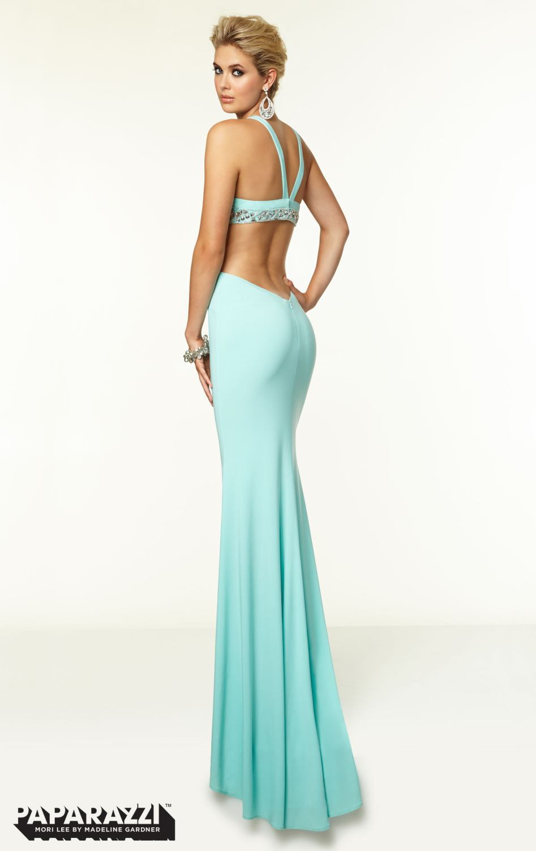 2015 Paparazzi Prom Dresses Side Cut Out Halter Aqua Color Long ...