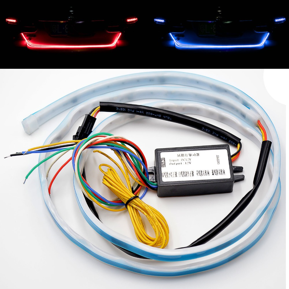 Taitian Car-styling Daytime Running lights 120cm Floating strip 12V car warning light Turn Signal Rear Tail drl flexible led bar new 2 pcs car led daytime running light turn signal light flowing yellow steady auto flexible styling strip crystal led bar drl
