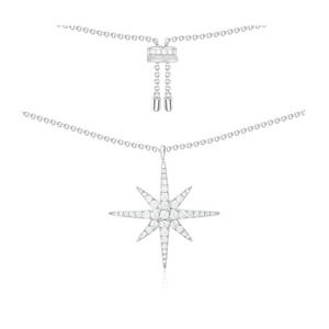 Image 1 - SLJELY Luxury Real 925 Sterling Silver Fine Necklace with Zircon CZ Star Charm Women Fashion Classic Fine Jewelry