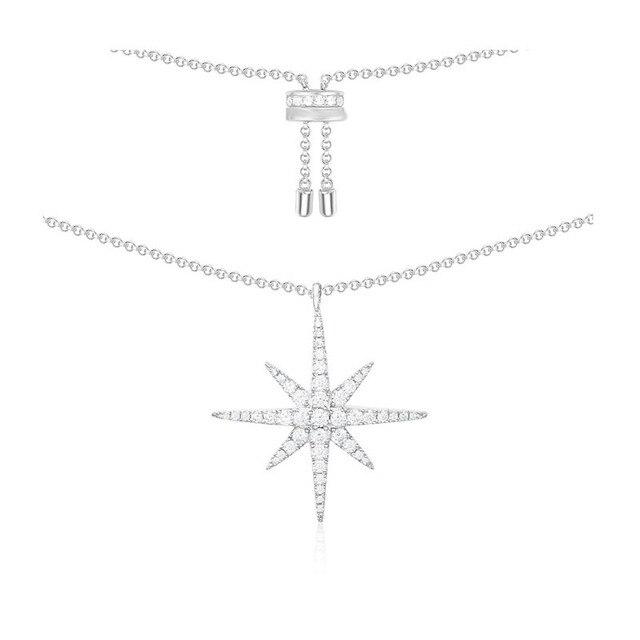 SLJELY Luxury Real 925 Sterling Silver Fine Necklace with Zircon CZ Star Charm Women Fashion Classic Fine Jewelry