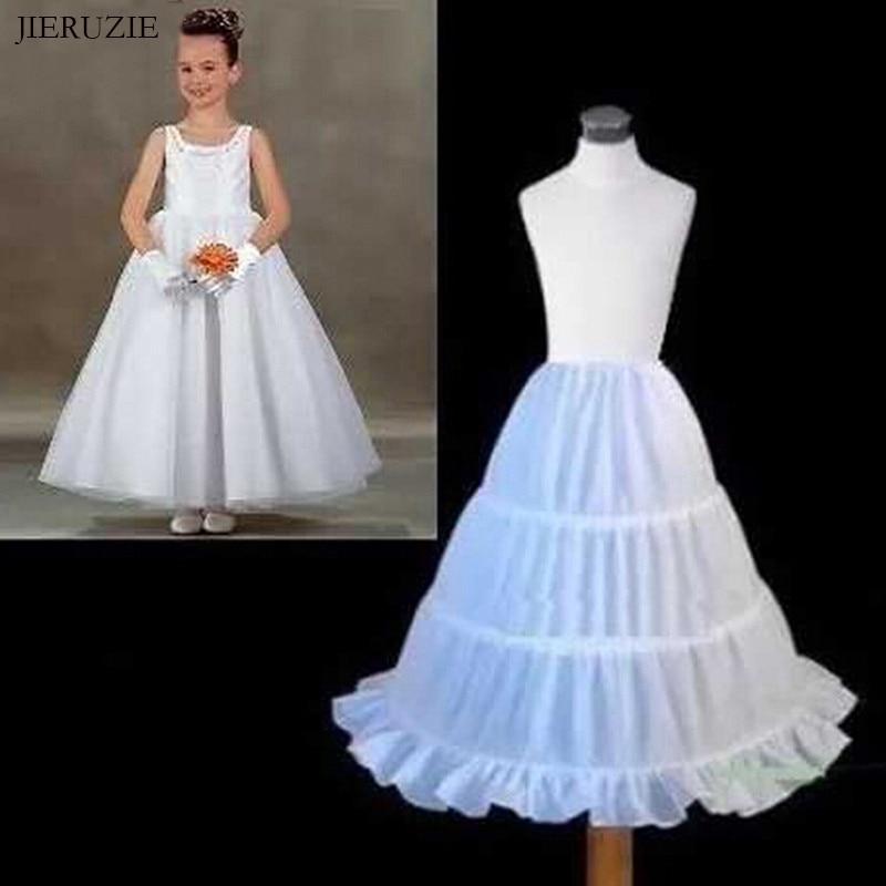 JIERUIZE 3 Hoops Girl Petticoat Ball Gown Crinoline Slip Underskirt For Flower Girl Dress Kids Wedding Accessories