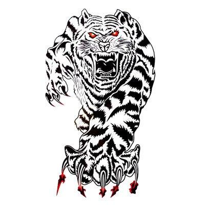 White Tiger Tattoo Designs 85 X 185 Cm Temporary Tattoos Stickers
