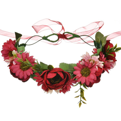 Handmade Wine Red Flower Crowns Hair Flower Tiara Wedding Woman Girls headband Hair Accessories Bridal Red Flower Wreath