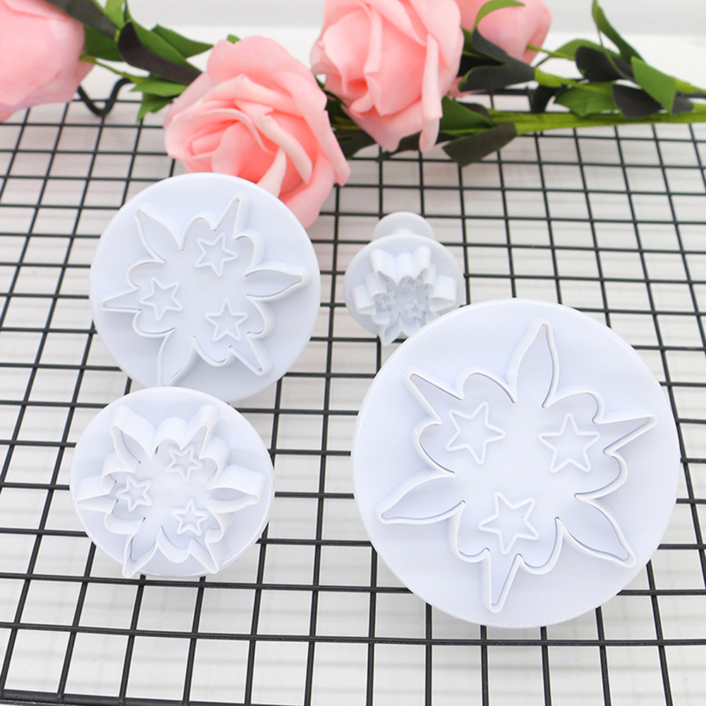 4Pcs/set Flower Cake Mold Fondant Cake Pastry Mold Cookie