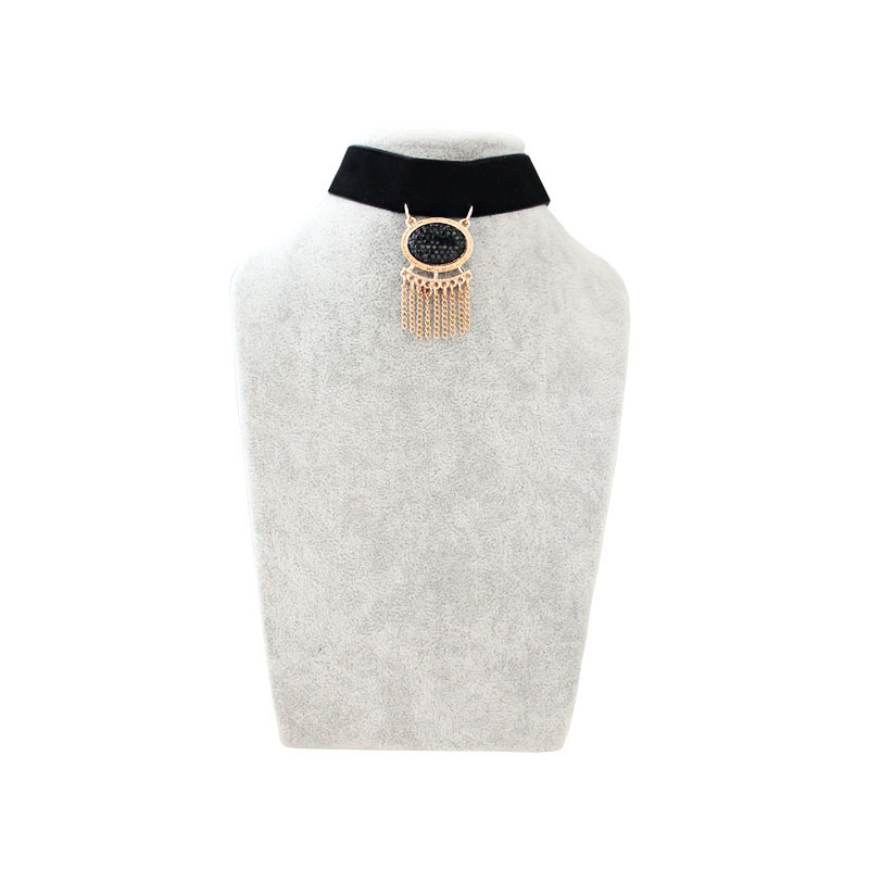 New Fashion Jewelry Bright black cloth scrub fringed short necklace pendant For Women Factory Wholesale Free Shipping
