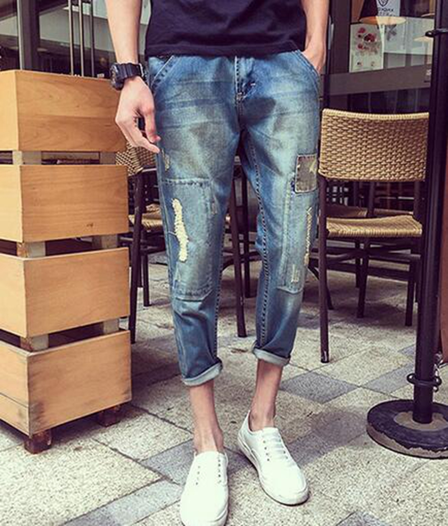 Leisure fashion personality han edition men's summer hole in the cat must be easy to add fat 9 minutes of pants / 29-42