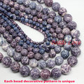 "Natura Stone Wholesale Colorful Stone Round Beads purple 15.5"" Pick Size 4 6 8 10 12mm Free Shipping (F00003)"