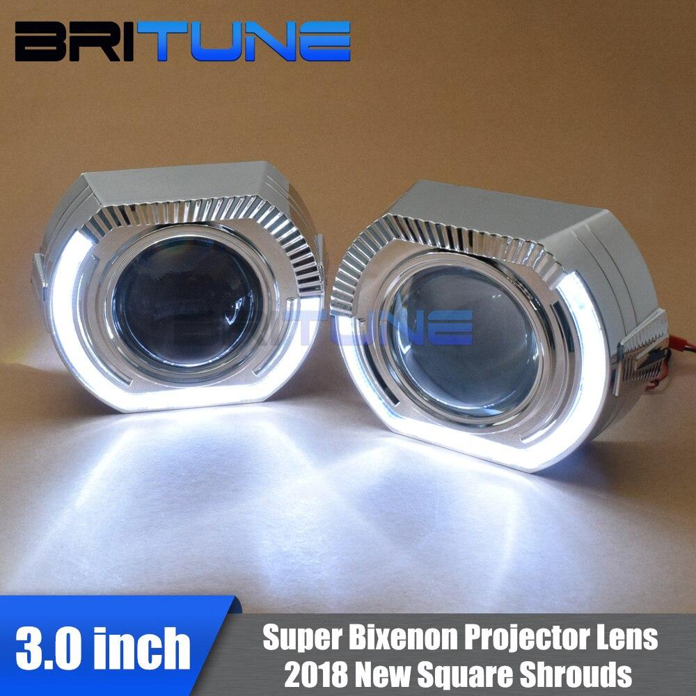 2018 plus récent X5 LED ange yeux carrés haubans Super 3.0 H1 bi-xénon projecteur lentille feux de jour Auto phare Tuning