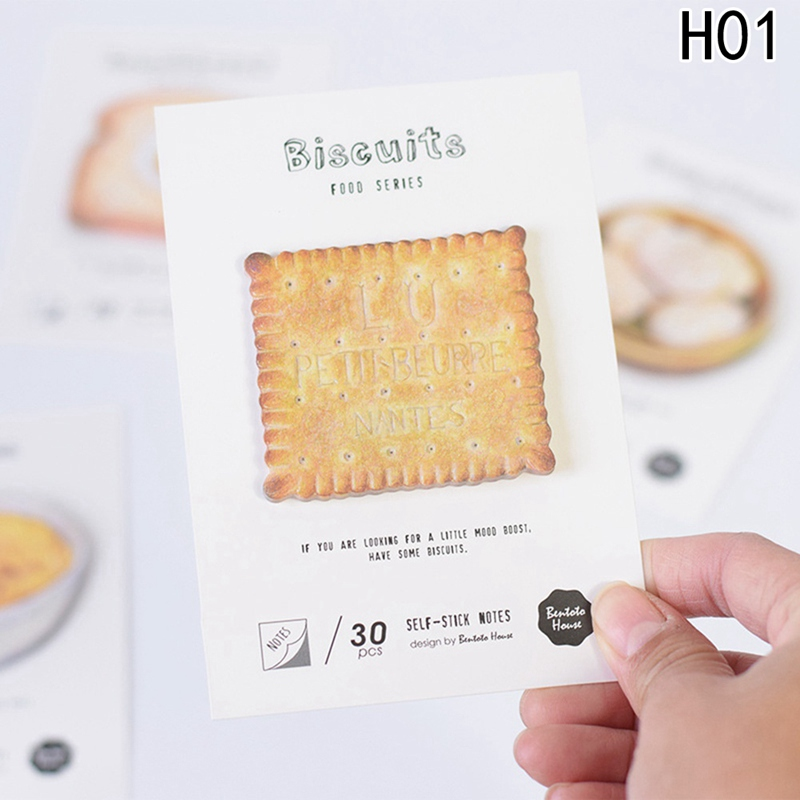 30 Sheets/pack Cute Imitation Food Sticky Notes Bread Geometric Stickers Planner Post Memo Pad Bookmarks School Supplies 2018 pet transparent sticky notes and memo pad self adhesiv memo pad colored post sticker papelaria office school supplies