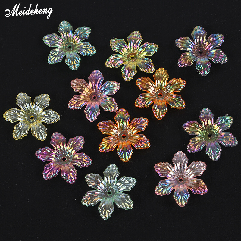 Acrylic Transparent Colorful Flower Beads for Jewelry DIY Making Life Fortune Tree Snowflakes Six Petals Accessory