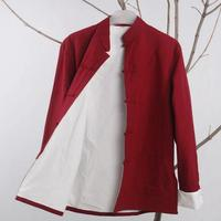 Rot tang-anzug tops langarm traditionelle chinesische kleidung männlichen kung fu uniform outfit clothing tang zhuang jacke baumwolle leinen