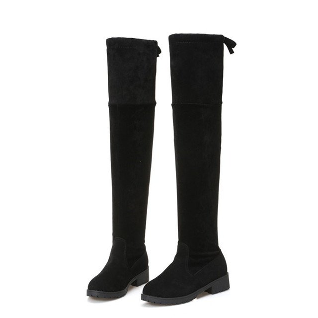 aa943b5291a 2017 Women shoes New Over The Knee Thigh High Black Boots Women Motorcycle  Flats Long Boots Low Heel suede Leather Shoes