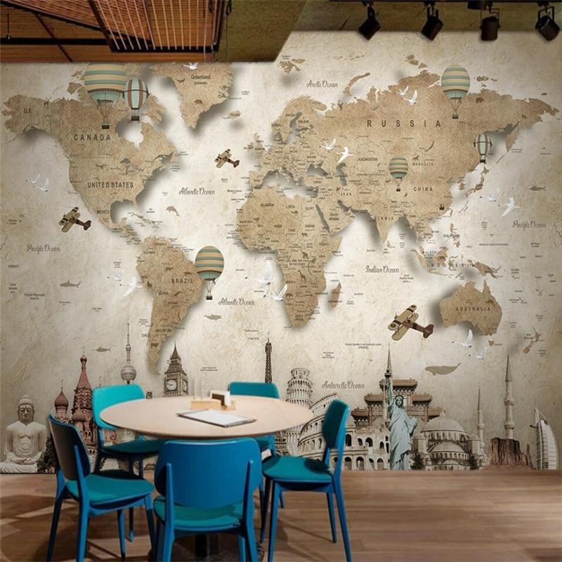 Wellyu Retro Nostalgic Cartoon World Map Background Wall Custom Large Mural Green Wallpaper Papel De Parede Para Quarto