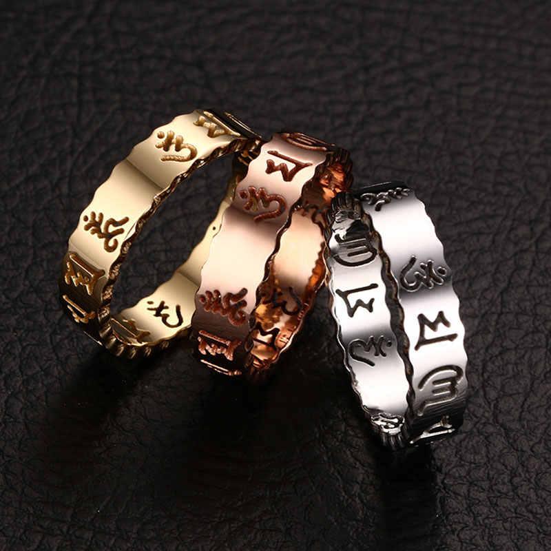 Anillo budista Vintage de moda plata/oro/Color oro rosa Acero inoxidable anillo Om Mani Padme Hum Mantra hueco anillo para hombres y mujeres