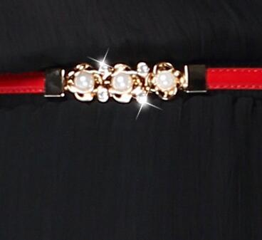 simple fashion 1cm slim women waist belt PU LEATHER bet metal gold buckle metal flowers decorated pearl diamonds set lady dress