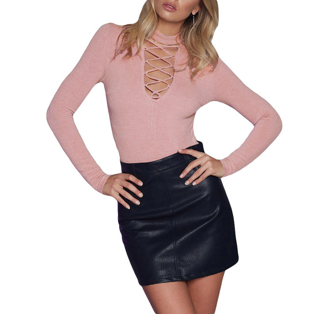 96ba712566f2 Women Hollow Out Pink Slim Playsuit Full Sleeve Sexy Bodysuits Bodycon  Triangle Rompers Womens Jumpsuit One-piece Pants