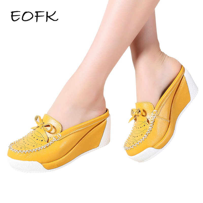 EOFK 2019 Summer Women Slippers Shoes Women s Wedges Leather Causal Woman Outside Ladies Hollow Platform