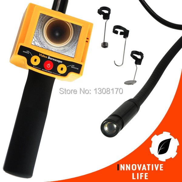 2.4 inch TFT LCD Video Borescope Car Pipe Inspection 10mm Camera 180 degree Rotation Snakescope 2 LED Industrial Endoscope цены