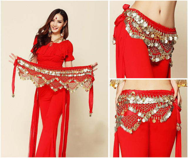 8a4fc4009 New Style Coins Belly Dance Waist Chain Accessories Indian Dress Belt 8  Colors Hip Belt Belt With Coins