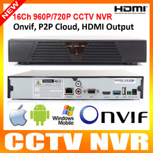 P2P Cloud CCTV NVR 16Ch 960P/720P or 8Ch 1080P ONVIF HDMI OUTPUT H.264 NVR For IP Camera Support Windows Mobile iPhone/Android