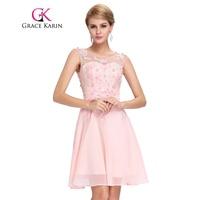 Short Prom Dress 2016 Grace Karin Round Neck Sexy Chiffon Sleeveless Knee Length Junior Prom Gown
