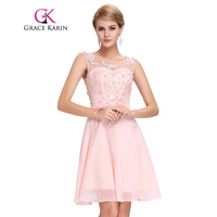 Grace karin short prom dress 2017 o neck sexy chiffon sleeveless knee length junior school prom.jpg 200x200