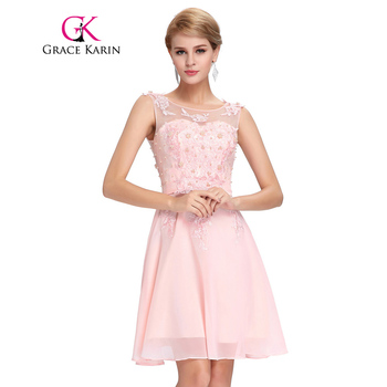 Grace Karin Short Prom Dress 2017 O Neck Sexy Chiffon Sleeveless Knee Length Junior School Prom Gown Special Occasion Dresses