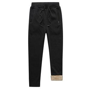 Image 5 - Mens Winter Plus Cashmere Velvet Thicken Pants Men Warm Trousers Mens Sweatpants Brand Clothing Male Elastic Waist Trousers 666