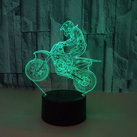 Motorcycle 3D Vision on LED Locomotive Night Light Gift for Cycling Enthusiast Table Lava Lamp Home Decor Sensor Lighting Lamp