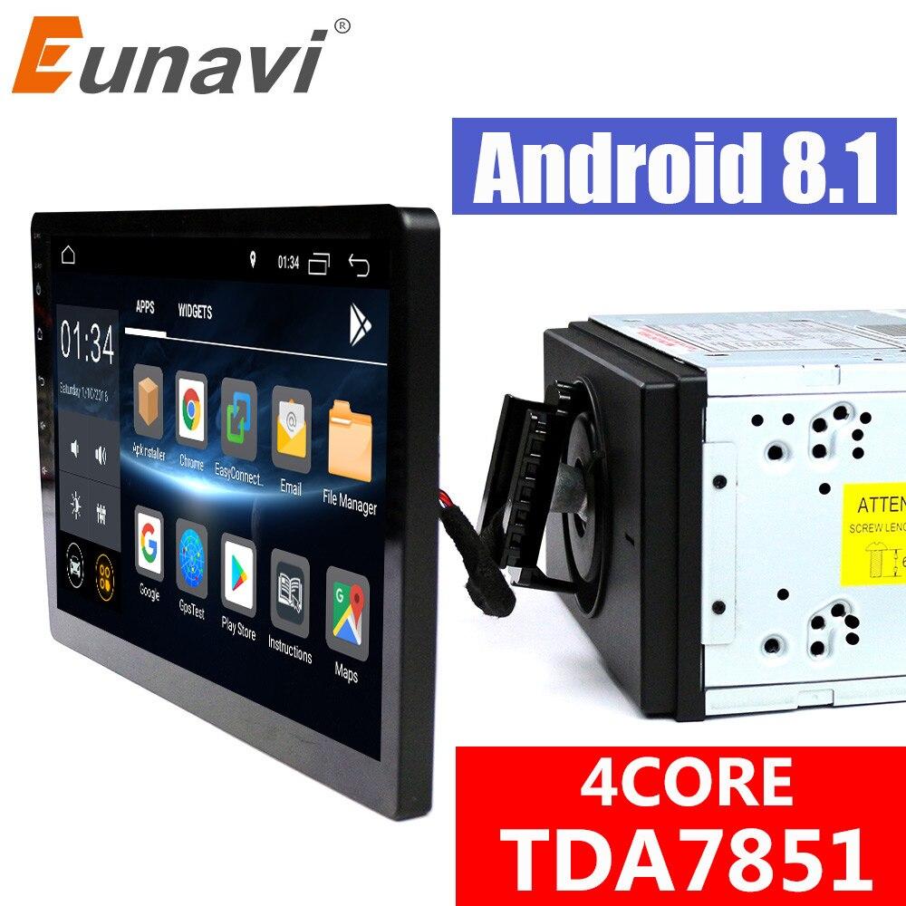 Eunavi 2 din 10,1 ''quad core TDA7851 Android 8,1 автомобилей Радио gps навигации с емкостный экран стерео Bluetooth, Wi Fi 3g swc