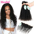 Mealid Peruvian Curly Hair With Frontal Closure Peruvian Virgin Hair With Lace Frontal Closure Peruvian Curly Hair 3 Bundles