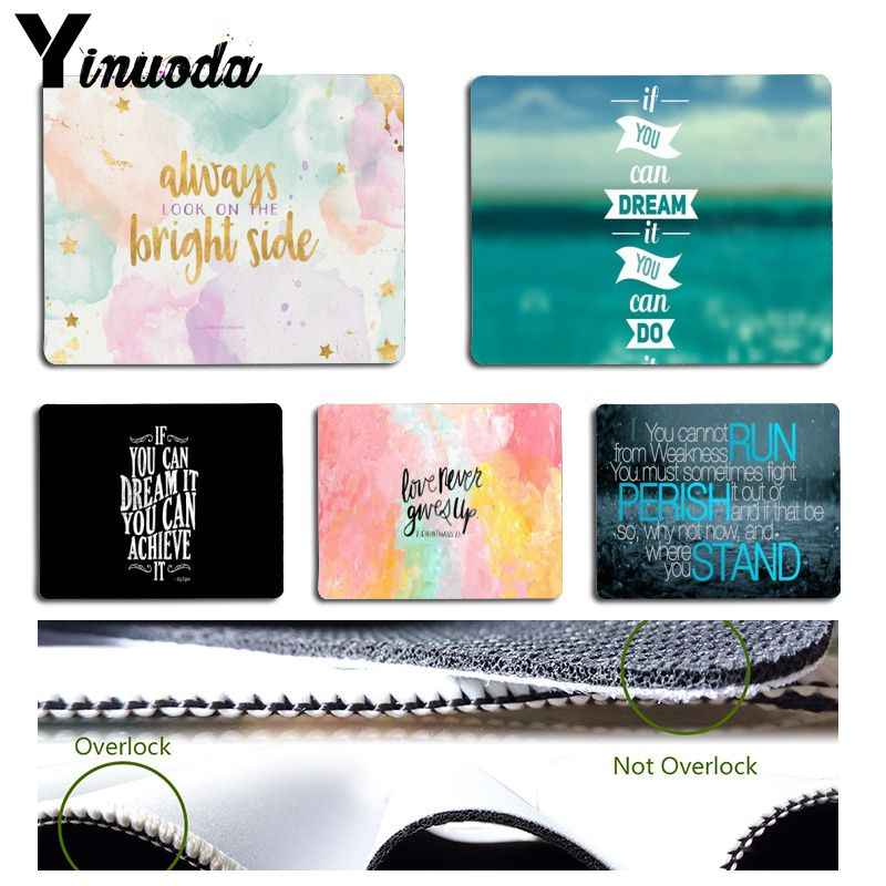 Yinuoda  Motivational Quotes Word pattern Mouse pad PC Computer mat Size for 180x220x2mm and 250x290x2mm Small Mousepad