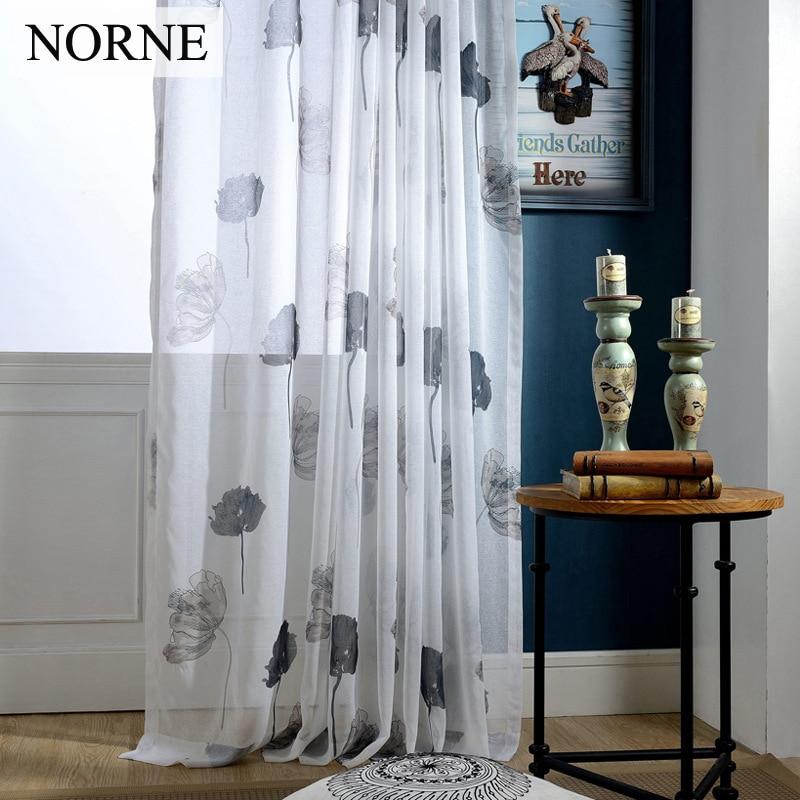 NORNE Dekorativní tištěná polobílá čipka Tylová záclona - Bytový textil