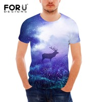 FORUDESIGNS Wholesale Men's Short Sleeve T Shirt 3D Animal Deer Print Comfort Fitness Top Tees Male O neck Elastic Big Size