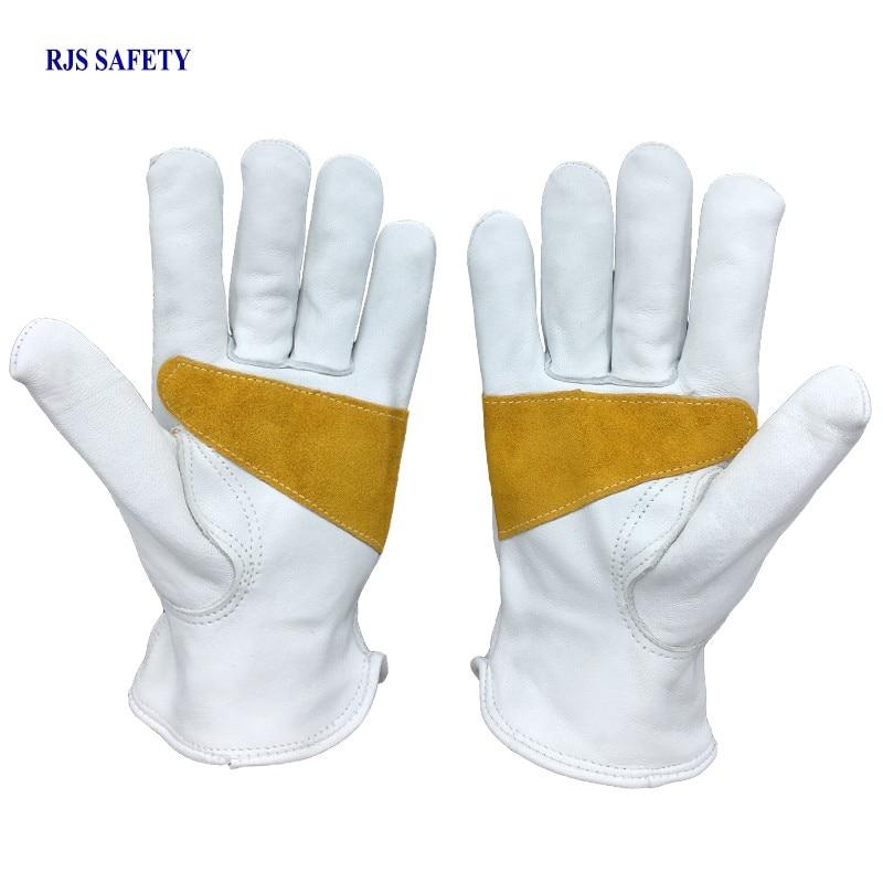 Luvas SheepskinLeather Motorista de trabalho Luvas de Proteção de Segurança de Segurança Desgaste dos homens Trabalhadores de Soldagem Luvas Moto Drive Gloves4028