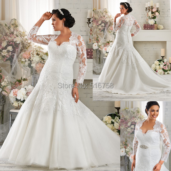 Fit And Flare Floor Length Sheer Three Quarter Sleeves Illusion Back Beaded Lace Plus Size Wedding Dress Vestidos 2015 In Dresses From