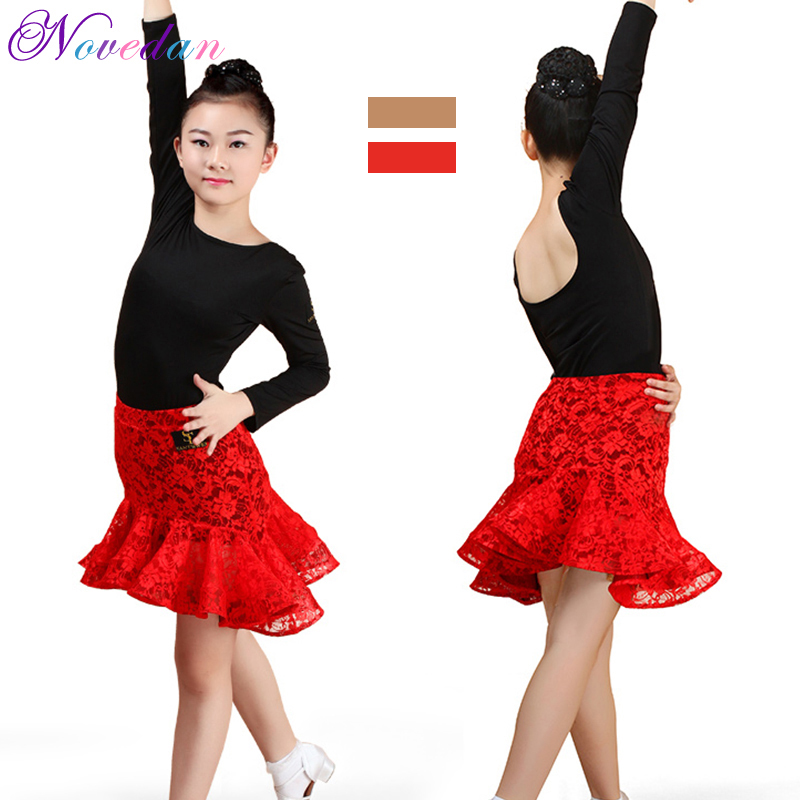 54d0ee4e4 Girls Children Ruffle Latin Dance Skirt Suits Kids Dance Leotard & Skirt  Sets Latin Sequined Ballroom