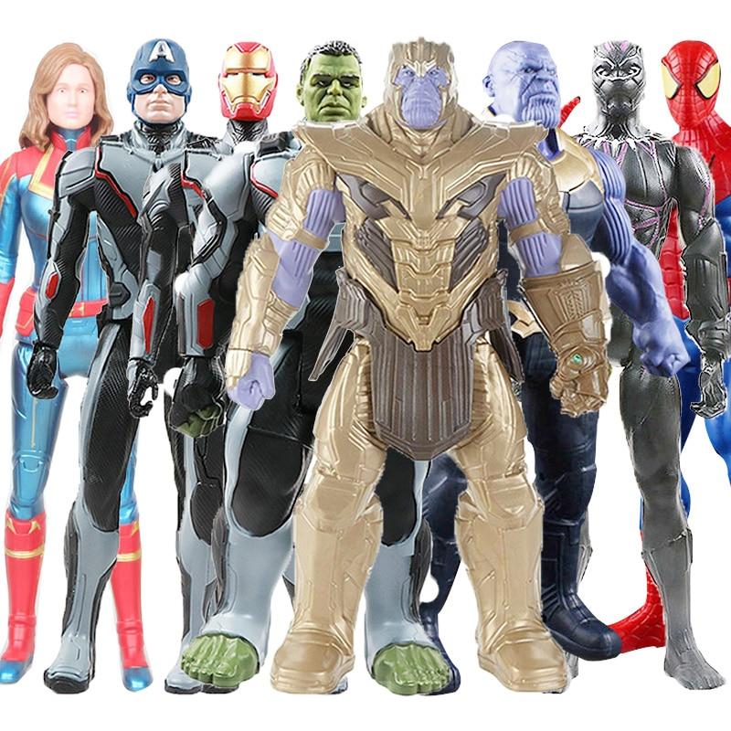 30cm Avengers Toys Thanos Hulk Wolverine Spider Man Iron Man Captain Marvel America Black Panther Thor Action Figure Doll Toy