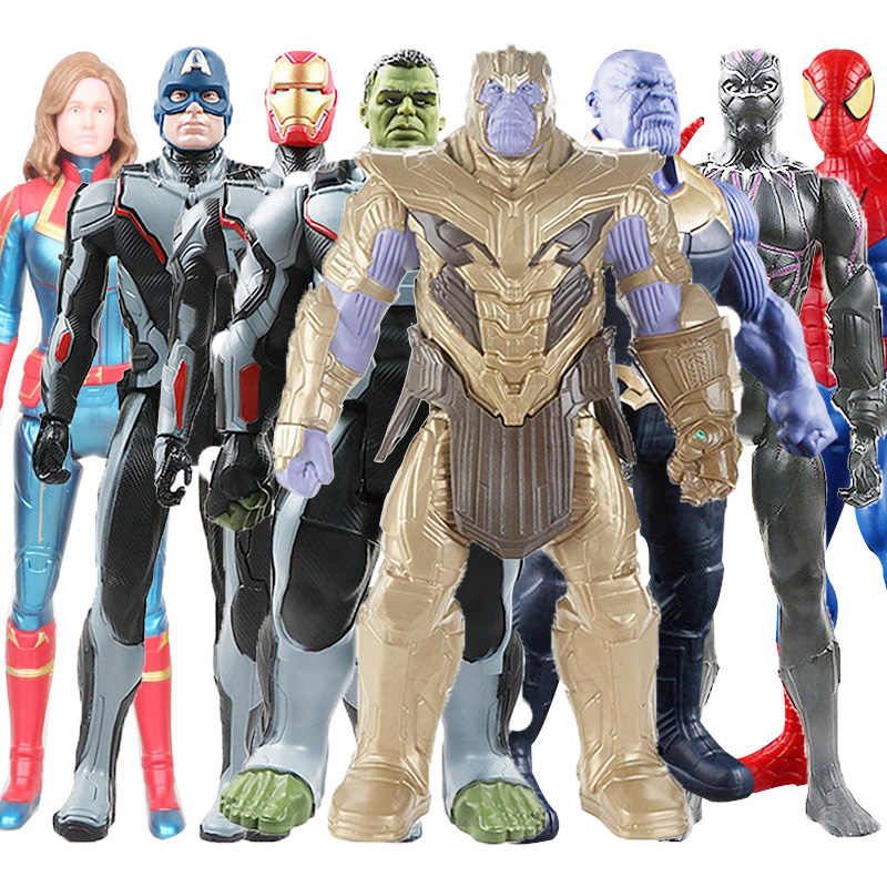 30 ซม.Avengers ของเล่น Thanos Hulk Wolverine Spider Man Iron Man กัปตัน Marvel America Black Panther Thor Action Figure ตุ๊กตาของเล่น